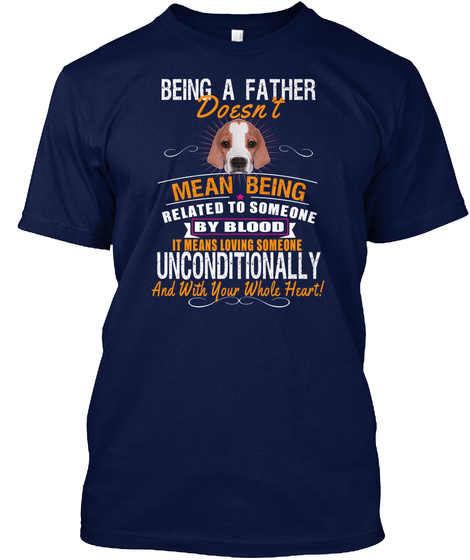 Being A Father Love English Pointer Dog Navy T-Shirt Front