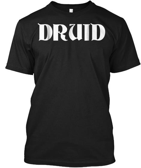 Druid Fantasy Lazy Halloween Costume Fun Black T-Shirt Front