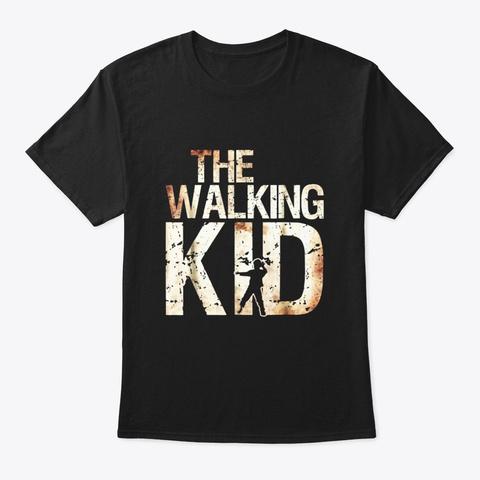 Walking Kid Shirt Zombie Child Lad Boy Black T-Shirt Front