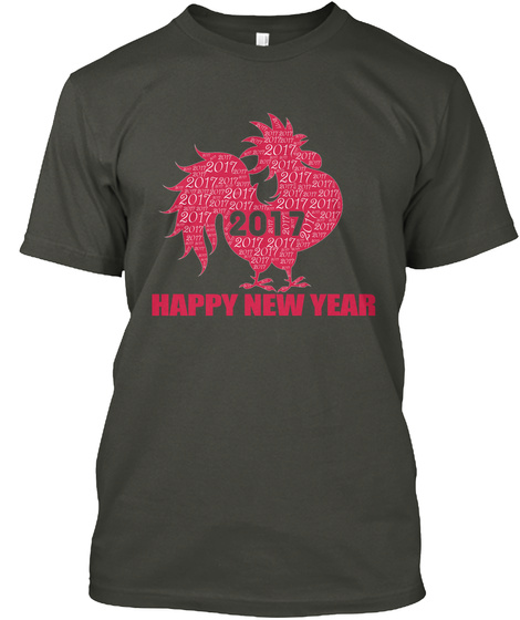 2017 Happy New Year Smoke Gray T-Shirt Front