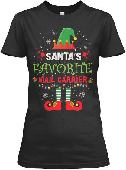 Santa's Favorite Mail Carrier Black T-Shirt Front