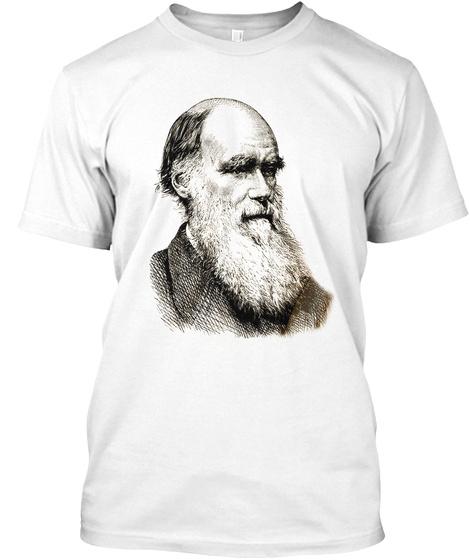 Darwin Portrait Evolution White T-Shirt Front