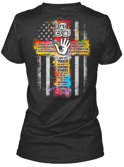 Proud Childcare Provider Shirt Black T-Shirt Back