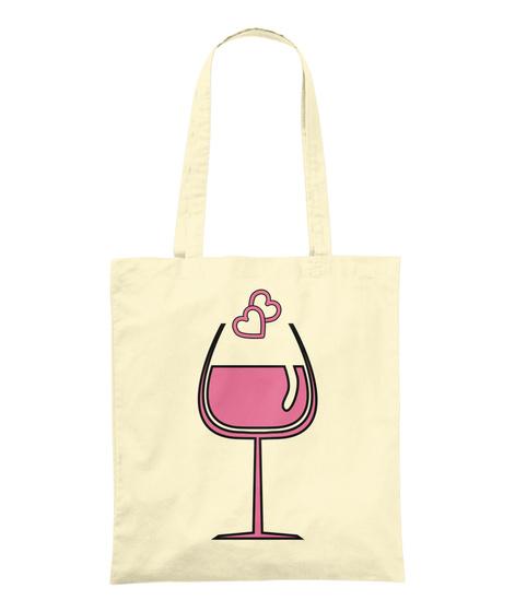 Rose Wine Hearts Tote Bag Natural Tote Bag Front