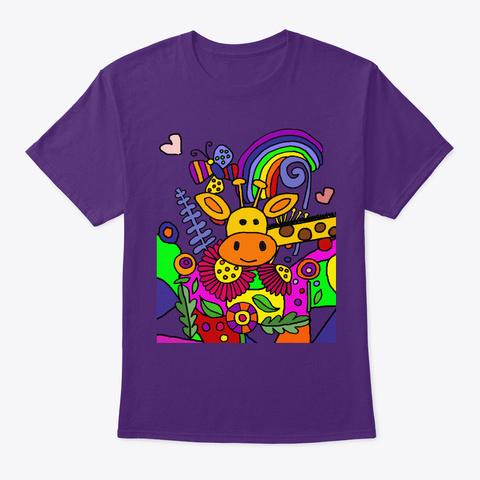 Cool Funny Giraffe In The Flower Garden Purple T-Shirt Front