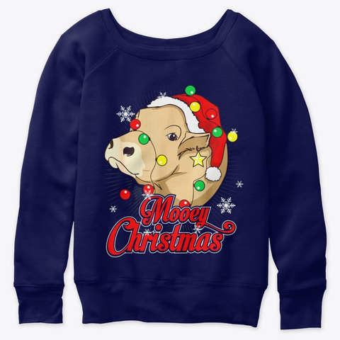 Mooey Christmas Cow Santa Claus Hat Ugly Navy  T-Shirt Front