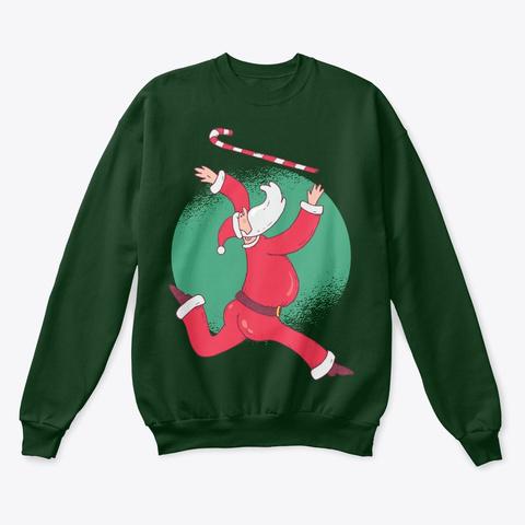 Christmas Santa Baton Twirling Deep Forest  T-Shirt Front
