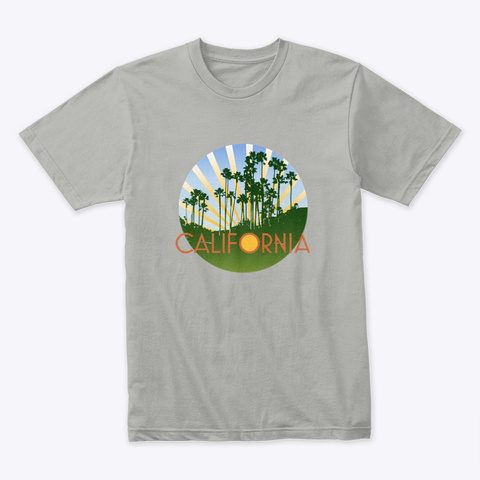 California Palms With Rays Light Grey T-Shirt Front