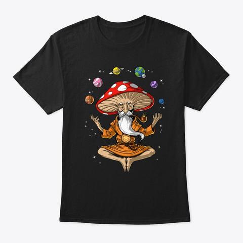Buddha Magic Mushroom  Black T-Shirt Front