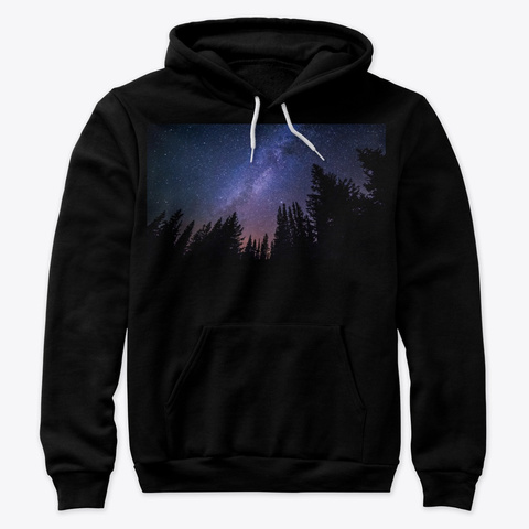 Space (Hoodie) Black T-Shirt Front