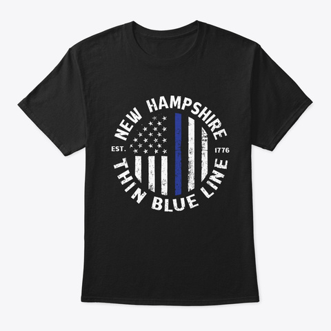 New Hampshire Police T Shirt    Black T-Shirt Front