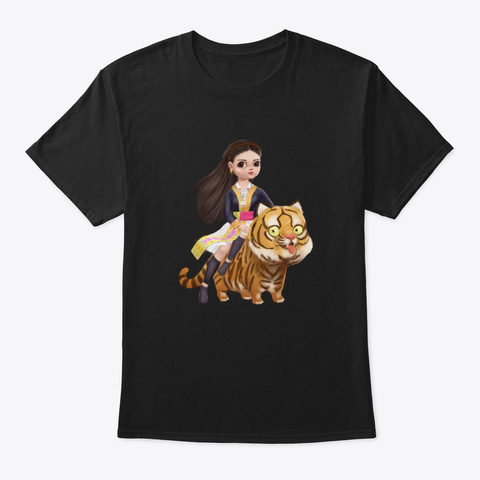 Little Yer And Tiger Black T-Shirt Front