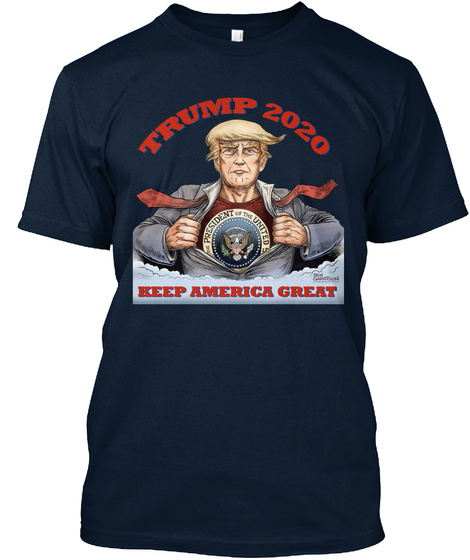 Trump 2020 Keep America Great New Navy T-Shirt Front