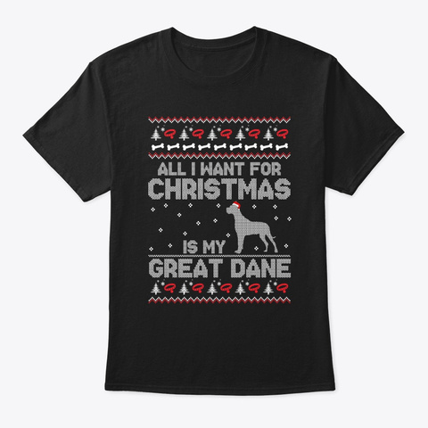 Great Dane Ugly Christmas Sweater Tee Black T-Shirt Front