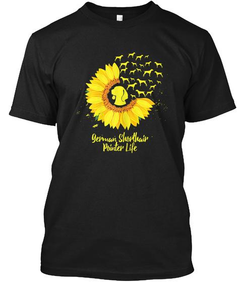 German Shorthair Pointer Gift Mom Sunflo Black T-Shirt Front