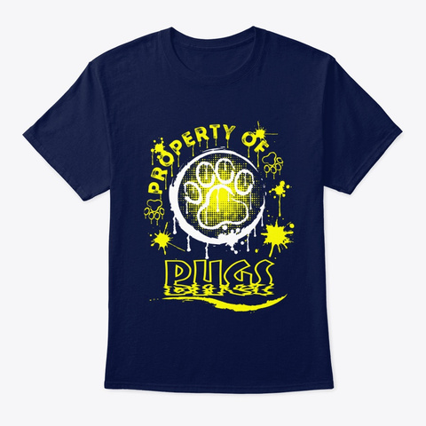 Dog Property Of Pugs Navy T-Shirt Front