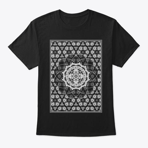 Sacred Geometry Framed Flower Black T-Shirt Front