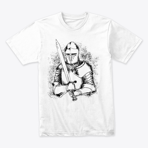Medieval Knight Hand Drawn White T-Shirt Front