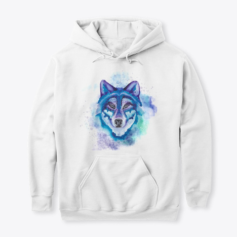 Watercolor Wild Wolf' S Face White T-Shirt Front