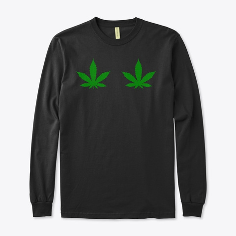 Weed Leaf Funny Ugly Christmas Sweater Black T-Shirt Front