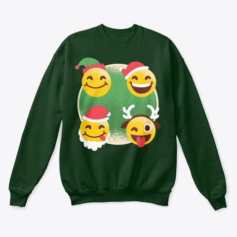 Christmas Smiling Emoji Deep Forest  T-Shirt Front