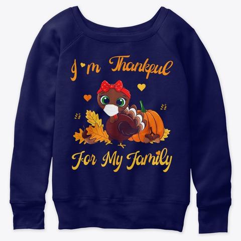 Thankful For My Family Pajamas Turkey Navy  T-Shirt Front