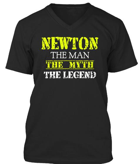Newton The Man The Myth The Legend Black T-Shirt Front