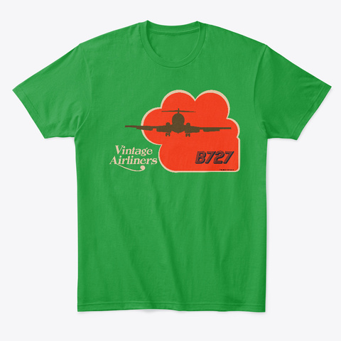 Vintage Airliners Jet Age Airliner Tee Kelly Green T-Shirt Front