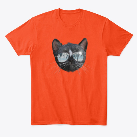 Cool Cat With Sunglasses Deep Orange  T-Shirt Front