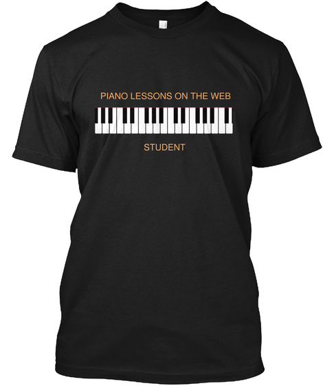 Piano Lessons On The Web Student Black T-Shirt Front