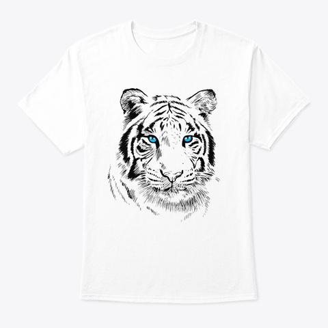 Sketch Tiger Blue Eyes Cute Feline White T-Shirt Front