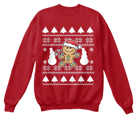 Ugly Christmas Gingerbread Man Sweater Deep Red  T-Shirt Front