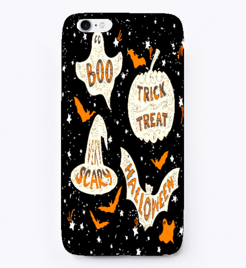 Halloween Pattern I Phone Case Black T-Shirt Front