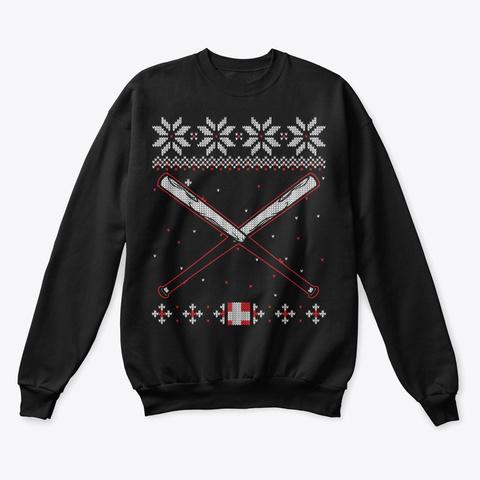 Baseball Lover Ugly Christmas Sweater Black T-Shirt Front