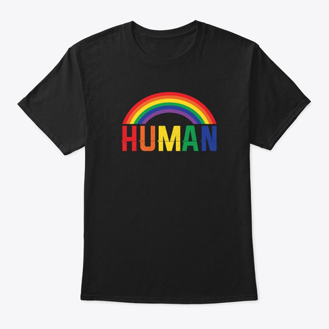 Human Flag Lgbt Gay Pride Month  Black T-Shirt Front