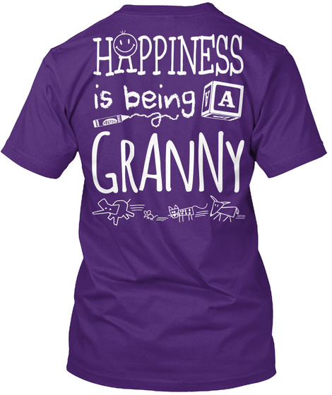 Happy Granny Happiness Is Being A Granny Purple T-Shirt Back