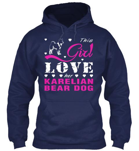 Karelian Bear Dog Gift Shirt. Navy T-Shirt Front