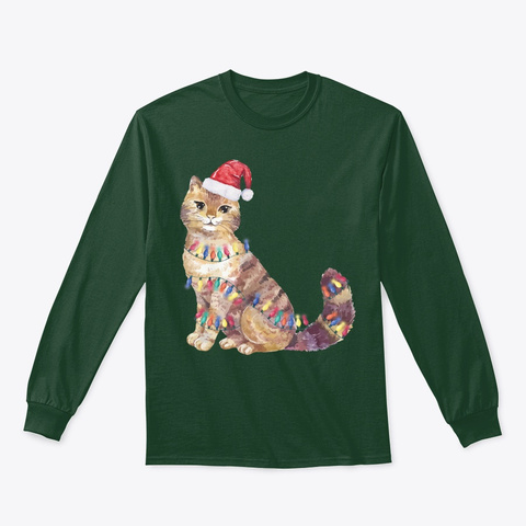 Santa Cat Christmas Lights Lover Gift Forest Green T-Shirt Front