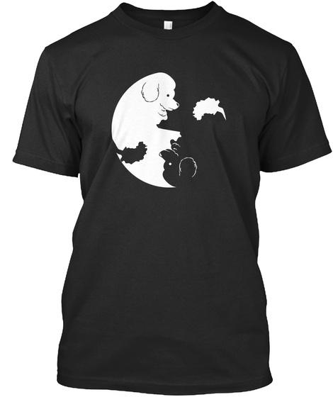 Poodle Yin Yang Black T-Shirt Front