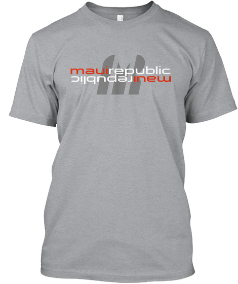 Mauirepublic Logo Reverse Heather Grey T-Shirt Front