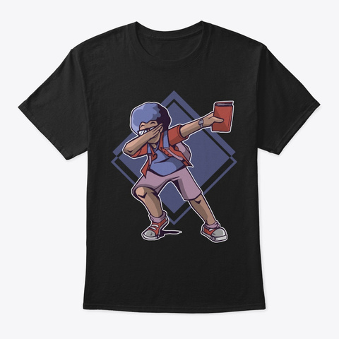 Funny Gift   Black Man Dabbing Black T-Shirt Front