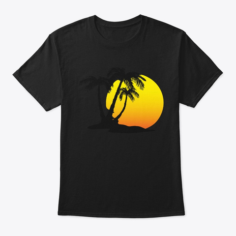 Sunset Beach Palm Tree Funny Summer  Black T-Shirt Front