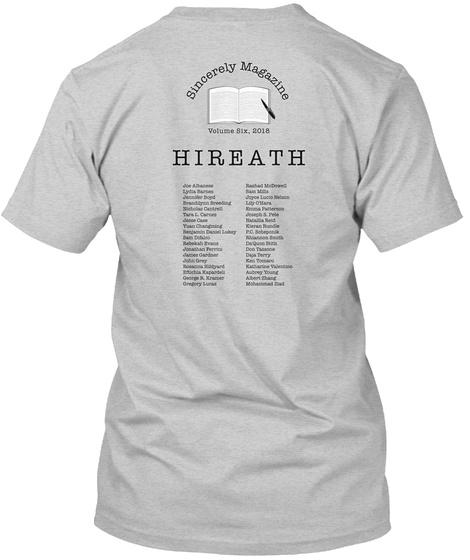 Sincerely Magazine Volume Six: Hireath Light Steel T-Shirt Back
