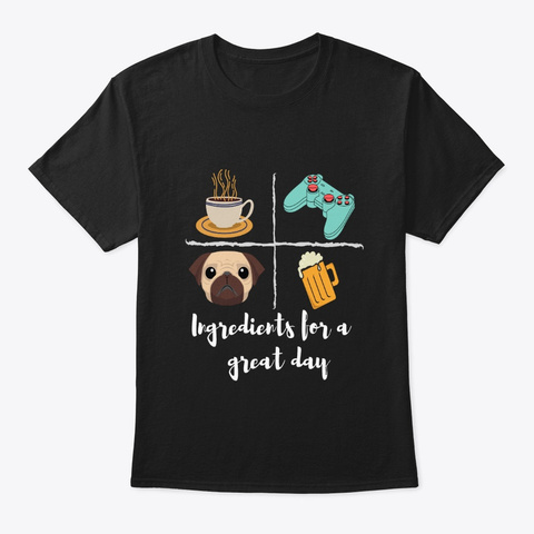 Coffee, Games, Dogs & Beer Lover's Merch Black T-Shirt Front