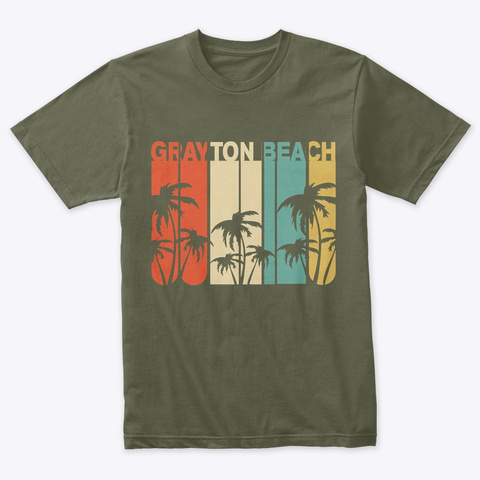 Grayton Beach Vintage Palm Military Green T-Shirt Front