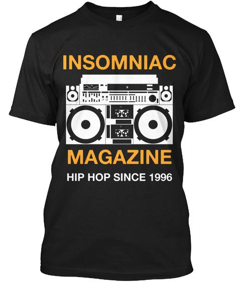 Insomniac Magazine Hip Hop Since 1996 Black T-Shirt Front