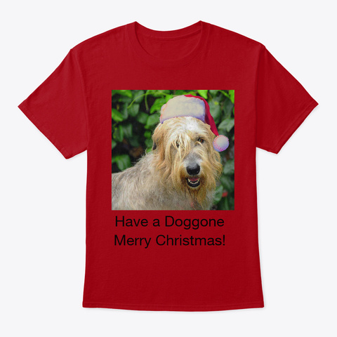 Wolfhound Christmas Deep Red T-Shirt Front