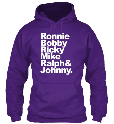 Ronnie, Bobby, Ricky, Mike, Ralph &Amp; John Purple T-Shirt Front