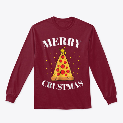 Merry Crustmas Pizza Lover Christmas Cardinal Red T-Shirt Front