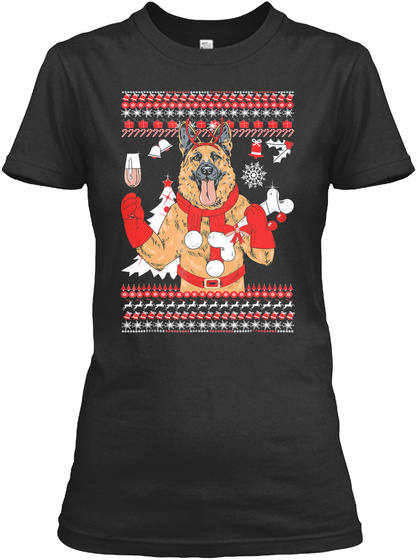 German Shepherd Christmas Tree T Shirt C Black T-Shirt Front